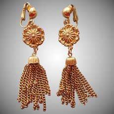 Tassel Clip Earrings Long Dangle Gold Tone Vintage