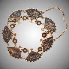 Amita Japanese Damascene Bracelet Fans Vintage
