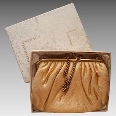 1950s Gold Lame Little Evening Purse Bag Vintage Abraham Straus Box