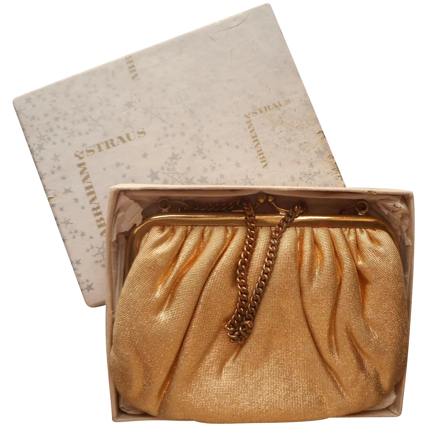 1950s Gold Lame Little Evening Purse Bag Vintage Abraham Straus Box