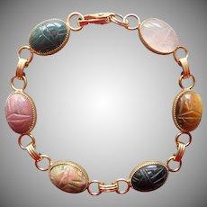 Carved Scarab Real Stones Barcelet Vintage Gold Filled