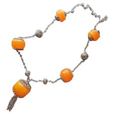 Vintage Berber Moroccan Style Necklace Chunky Faux Amber