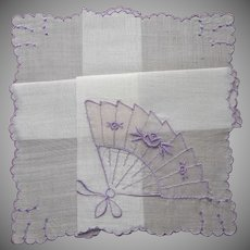 Vintage Hankie Unused Organdy Fan Applique Purple Embroidery