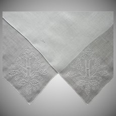 Monogram H Linen Hankies Hankie Vintage Hand Embroidered Pair
