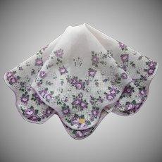 Vintage Hankie Purple Roses Cotton Print Original Label Tag