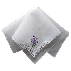 Vintage Hankie Violets Hand Embroidery Lace Corner Cotton