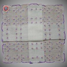 Dainty Hankie Vintage Unused Pink Purple Hand Embroidery Label
