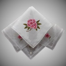 Rhododendron Petit Point Hand Embroidery Hankie Vintage Label