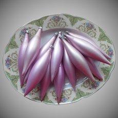 Vintage Poland Glass Christmas Tree Ornaments Orchid Purple Long Tear Drop Teardrop 12