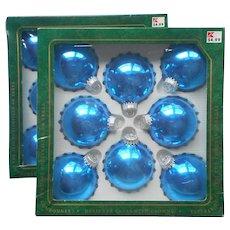 Vintage Krebs Christmas Tree Glass Ornaments 16 Hawaiian Blue