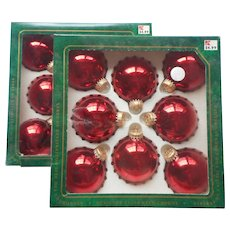 Vintage Krebs Christmas Tree Glass Ornaments 16 Dark Red