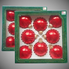 Vintage Krebs Christmas Tree Glass Ornaments 16 Candy Apple Red