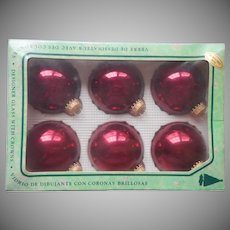 Vintage Krebs Christmas Tree Glass Ornaments 6 Burgundy Red