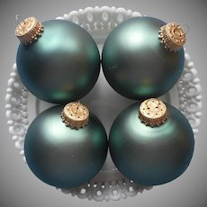 Vintage Krebs Christmas Tree Glass Ornaments 4 Velvet Green
