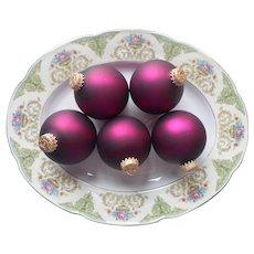 Vintage Krebs Christmas Tree Glass Ornaments 5 Sugar Plum Velvet