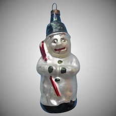 Vintage Christmas Tree Ornament Snowman Blown Glass Into Mold