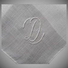 Monogram D Men's Hankie Vintage Handkerchief Linen Unused