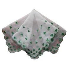 St. Patrick's Day Hankie Vintage Flocked Sheer Nylon Shamrocks