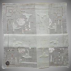Vintage Hankie Unused Linen Drawn Work Appliqued Original Label