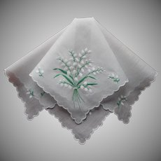 Vintage Hankie Lily Of The Valley Embroidery On Pale Ice Blue