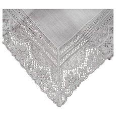 Unused Vintage Hankie Handkerchief Linen With Lace Frame