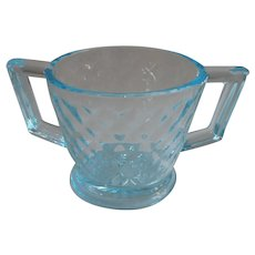 Imperial Blue Ice Quilted Sugar Bowl Turquoise Depression Glass Vintage