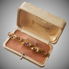 Edwardian Bar Pin Amethyst Colored Glass Stones Antique