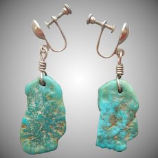 Sterling Silver Earrings Vintage Screw Back Turquoise Colored Stone Dangle