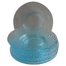 Imperial Blue Ice Quilted Bread Plates Turquoise Depression Glass Vintage