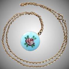 Enamel Locket On Chain Necklace Vintage 1960s Turquoise Blue Pink Rose