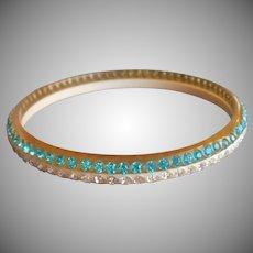 1920s Celluloid Aqua Rhinestones 2 Tone Bangle Bracelet Vintage