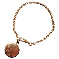 Antique Watch Fob Bracelet Length w Fob Charm Monogram M. A.