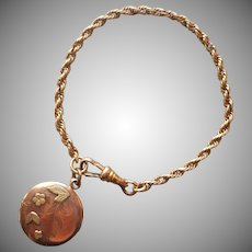 Antique Watch Fob Bracelet Length w Fob Charm Monogram M. A.