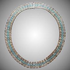 Square Aqua Rhinestones Vintage Art Deco Style Flexible Collar Choker Necklace