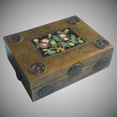 Chinese Box Brass Enamel Wood Lined Cigarette Vintage 1920s 30s