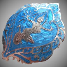 Sterling Siam Enamel Silver Pin Bright Turquoise Blue Dancer Vintage