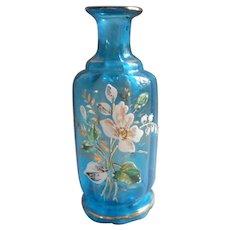 Antique Glass Enameled Perfume Bottle Turquoise Blown No Stopper