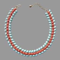 Trifari Faux Coral Turquoise Cabochons Vintage Necklace