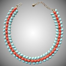 Trifari Vintage Necklace Faux Coral And Turquoise Cabochons Links