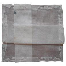 1930s Hankie Unused Vintage Finest Cotton Appliqued Hem All White