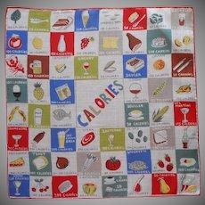 Labels Intact 1950s Calories Chart Printed Vintage Hankie Handkerchief