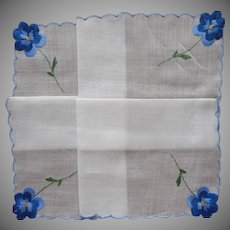 Blue Pansies Embroidery Vintage Unused Hankie Handkerchief