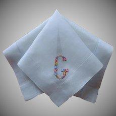 Monogram G Vintage Hankie Unused Petit Point Hand Embroidery Ice Blue