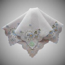 Vintage Hankie Desco Label Blue White Floral Embroidery Handkerchief
