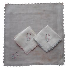 Monogram G Vintage Unused Hankie Hankie3  Hand Embroidered