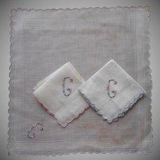 Monogram G Vintage Unused Hankie Hankie3  Hand Embroidered