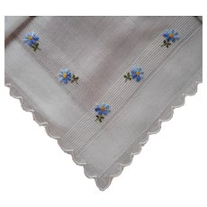 Vintage Hankie Unused Little Blue Flowers Hand Embroidery