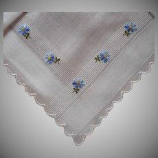 Vintage Hankie Unused Little Blue Flowers Hand Embroidery