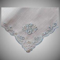 Monogram G Madeira Unused Vintage Hankie Handkerchief Blue White