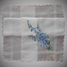 Larkspur Flowers Hand Embroidery Unused Vintage Hankie Handkerchief